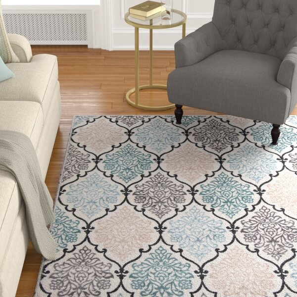 Kinsley Teal/Black Area Rug by Alcott Hill
