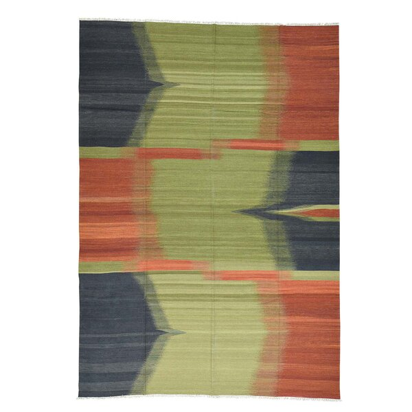 Kilim Flat Weave Oriental Hand-Knotted Green/Orange Area Rug by Bloomsbury Market