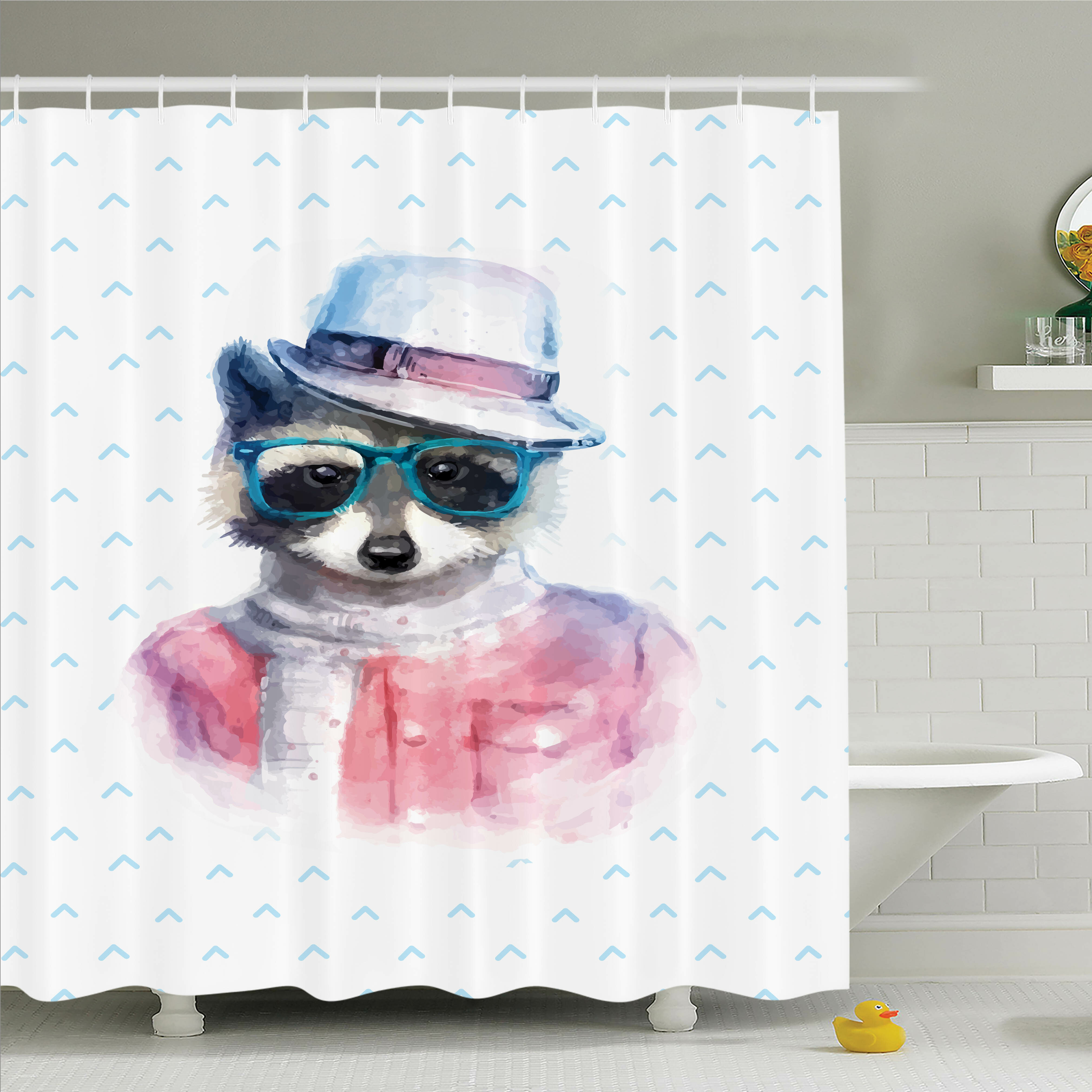 Ambesonne Kids Retro Hipster Raccoon Shower Curtain Set