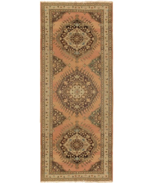 Oushak Hand-Knotted Salmon Area Rug by Pasargad