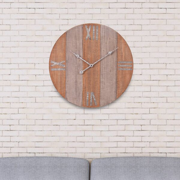 Oversized Marcellina Rustic Wood Frameless 24 Wall Clock by Gracie Oaks