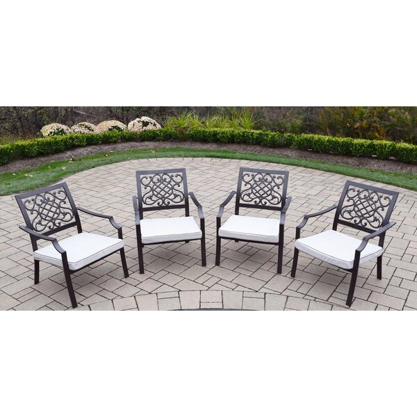 Neche Stacking Patio Dining Chair with Cushion (Set of 4) by Winston Porter Winston Porter