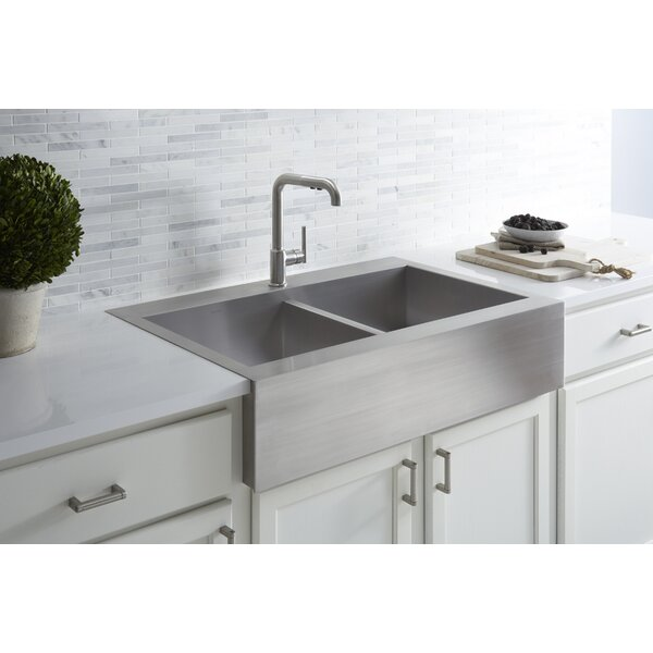Vault 36 L x 24 W Double Basins Farmhouse Kitchen Sink by Kohler