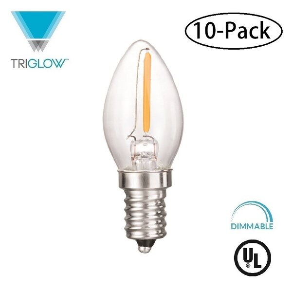 7W Equivalent E12 LED Candle Light Bulb (Set of 10) by TriGlow