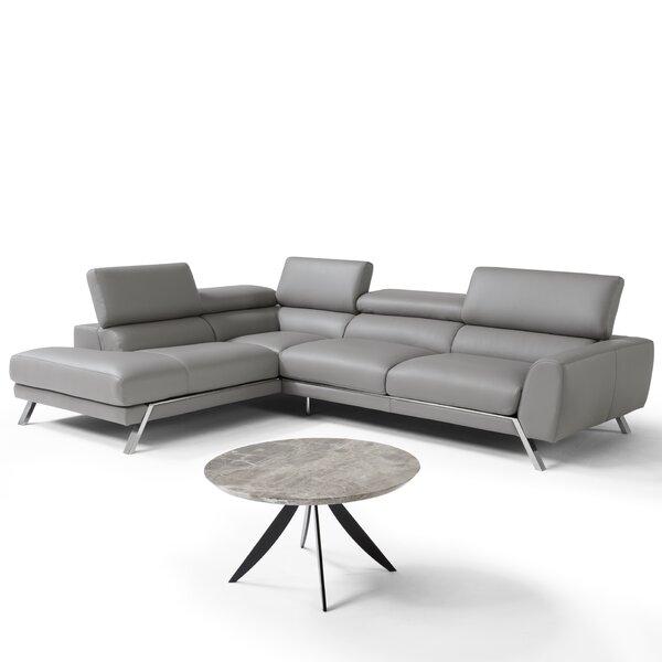 Chastain Leather Sectional by Orren Ellis