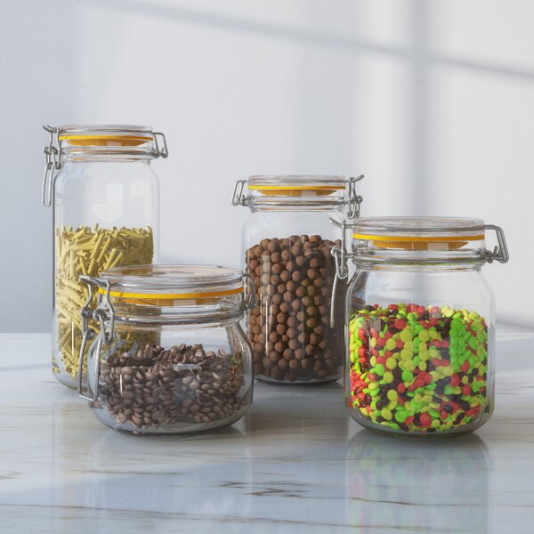 Wayfair Basics Clamp Lid 4 Piece Kitchen Canister Set by Wayfair Basics™