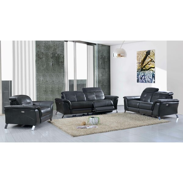 Tom Reclining Electric Leather 3 Piece Leather Living Room Set by Brayden Studio