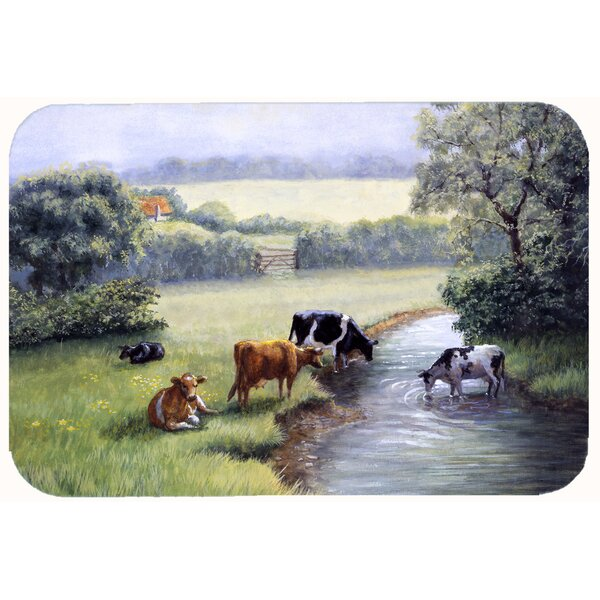 Cows Drinking at the Creek Bank Kitchen/Bath Mat by East Urban Home