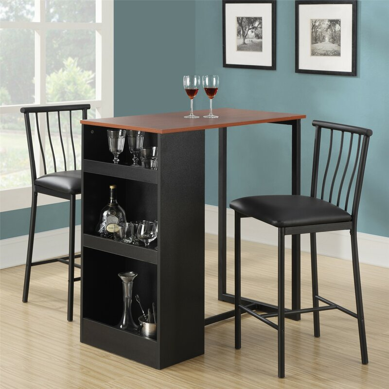 Roundhill Furniture 3 Piece Counter Height Pub Table Set: Francis 3 Piece Counter Height Pub Table Set & Reviews