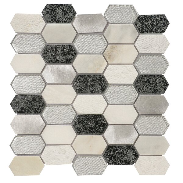 Distinto in Cloud 11.61 x 12 Mosaic Tile in White/Silver by Byzantin Mosaic