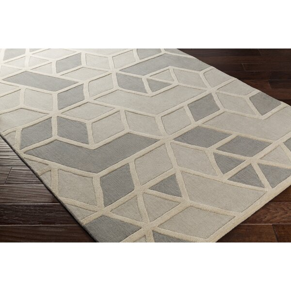 Vaughan Hand-Tufted Rectangle Gray Wool Area Rug by Wrought Studio