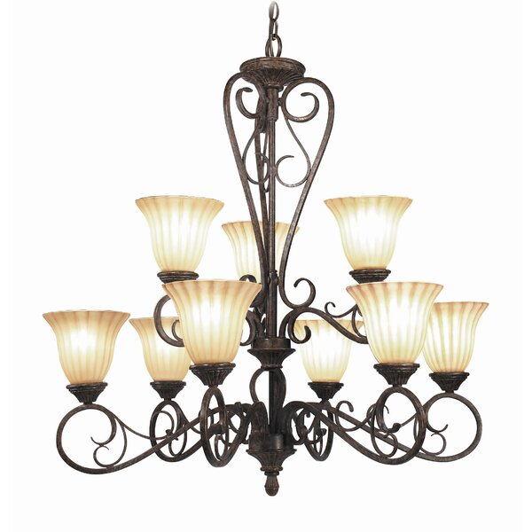 Avondale 9 - Light Shaded Tiered Chandelier By Woodbridge Lighting