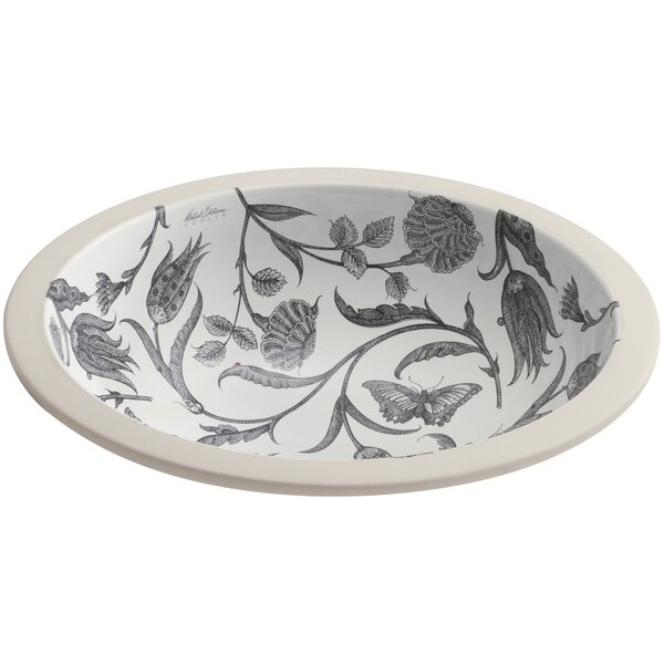 Botanical Study Ceramic Circular Undermount Bathroom Sink by Kohler