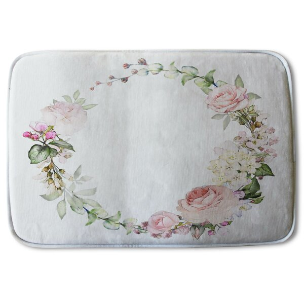 Andrya Flowers Designer Rectangle Non-Slip Floral Bath Rug