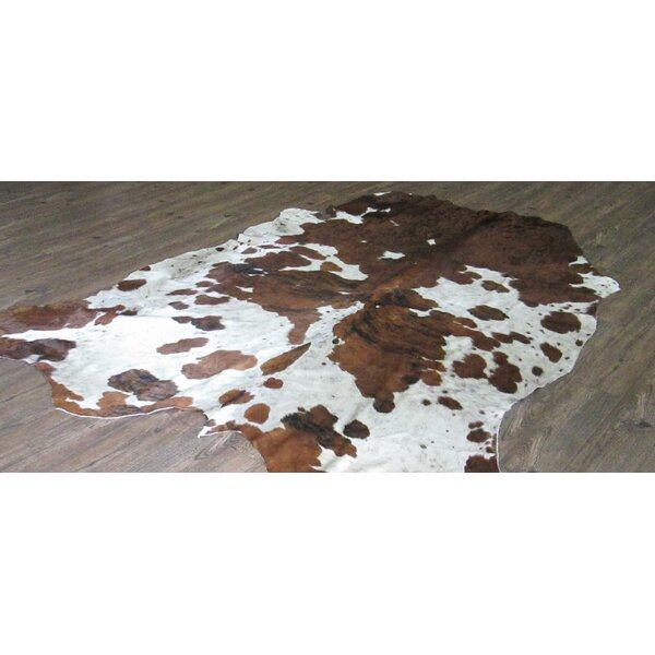 Lynnfield Hand Woven Cowhide Brown/White White Area Rug by Loon Peak