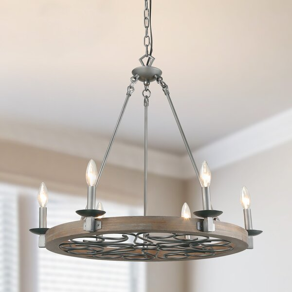 Faustine 6 - Light Candle Style Wagon Wheel Chandelier by Gracie Oaks Gracie Oaks