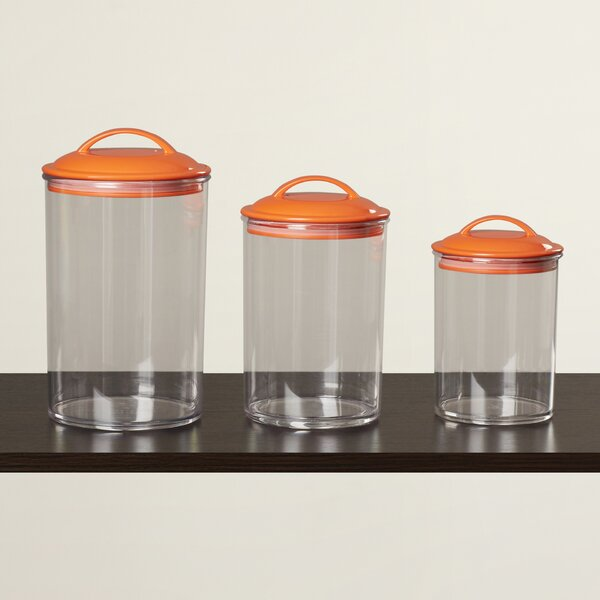 Acrylic 3 Piece Kitchen Canister Set by Rebrilliant