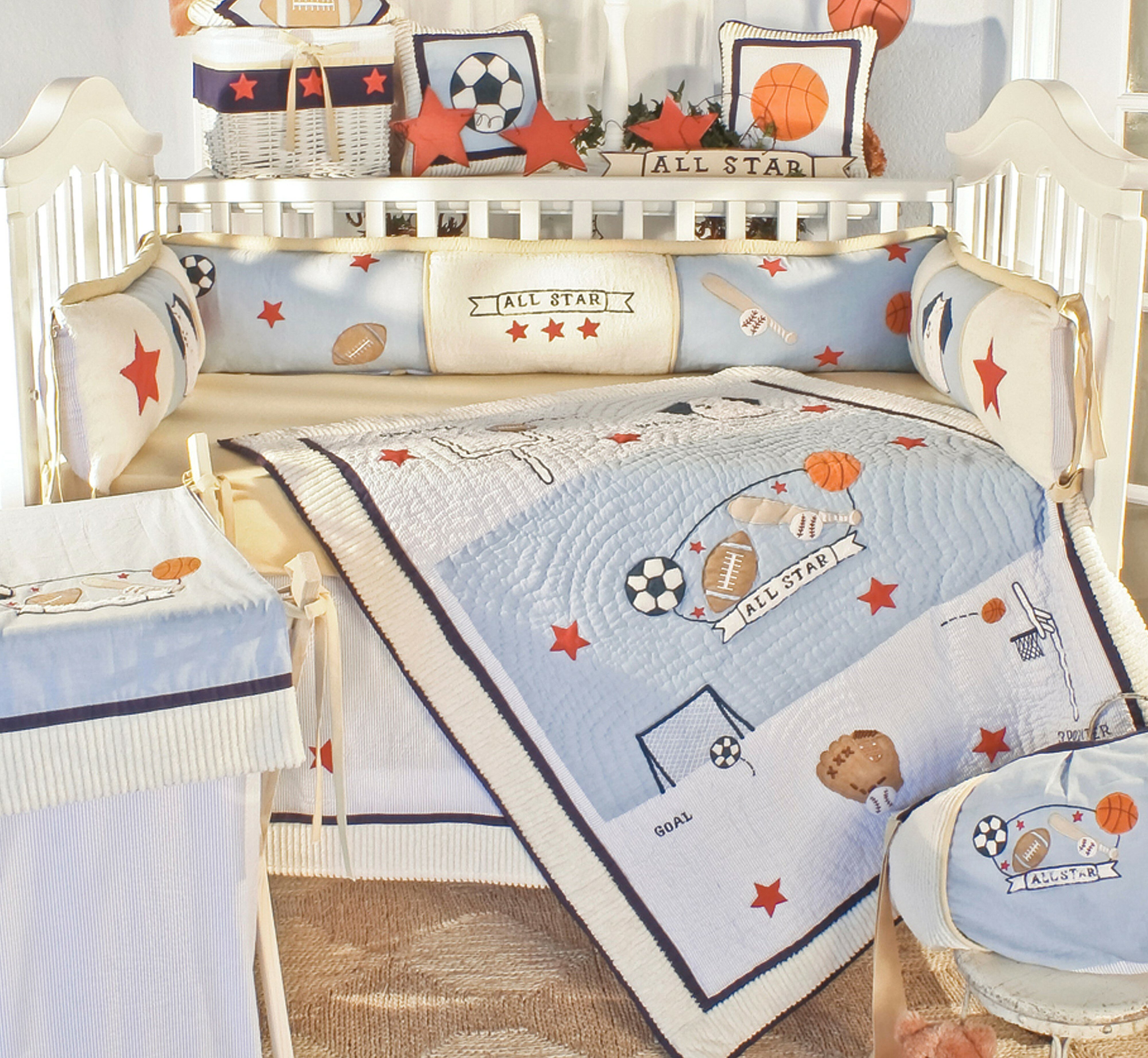 Zoomie Kids Mcfall Sports Fan 4 Piece Crib Bedding Set Wayfair