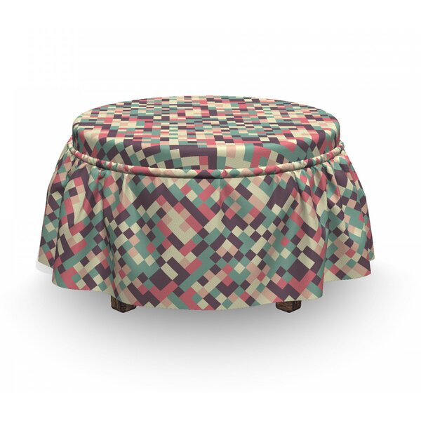 Mosaic Squares Ottoman Slipcover (Set Of 2) By East Urban Home