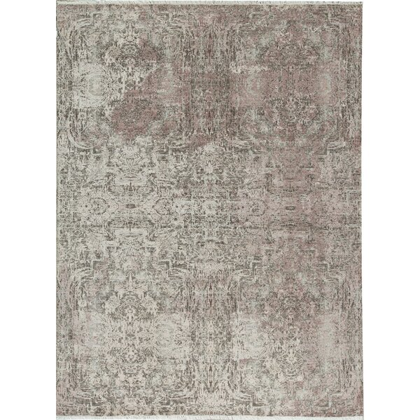 Hand-Knotted Wool Ivory/Purple Area Rug