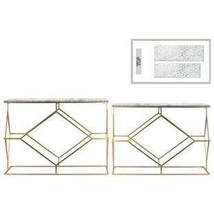 Height Contemporary 2 Piece Console Table Set with Marble Top and Diamond Design By Brayden Studio
