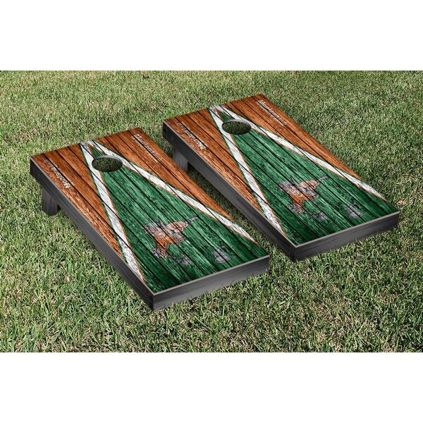 NAIA Montana Tech MT Orediggers Triangle Weathered Version Cornhole Game Set by Victory Tailgate