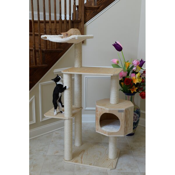 54 Premium Pinus Sylvestris Solid Wood Cat Tree by Armarkat
