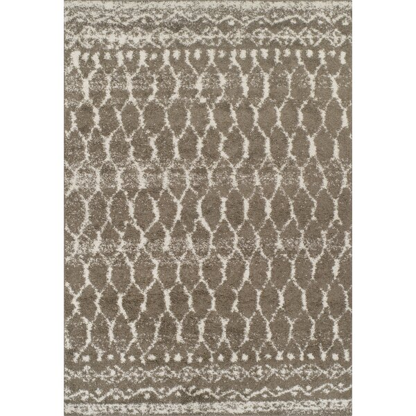 Thio Shag Taupe/Ivory Area Rug  by Bloomsbury Market