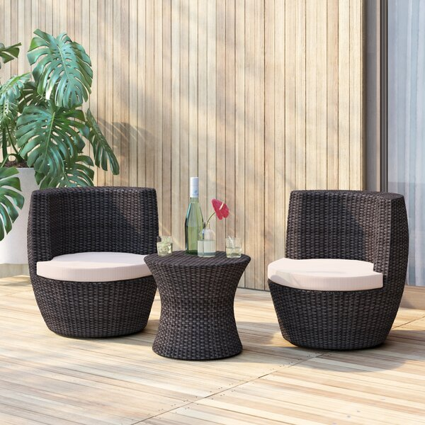Landers 3 Piece Bistro Set with Cushions by Mercury Row