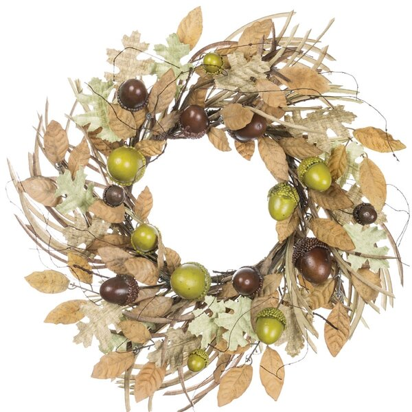 Autumn Acorn and Foliage 24 Polyester Wreath by Charlton Home