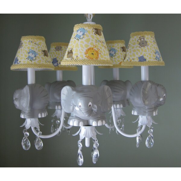 Elephant Parade 5-Light Shaded Chandelier by Silly Bear Lighting