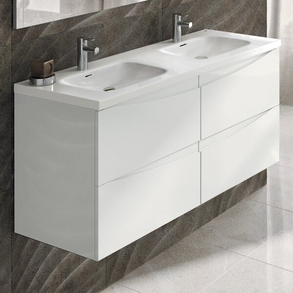 Emmanuel 48 Wall-Mounted Double Bathroom Vanity Set by Orren Ellis