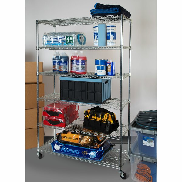 6-Tier UltraZinc™ NSF Steel Wire Shelving with Wheels by Seville Classics