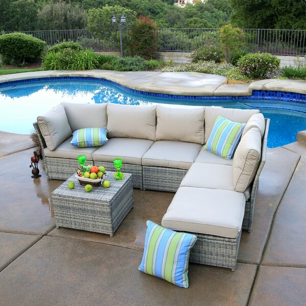 Goulding 3 Piece Rattan Sectional Seating Group with Cushions by Rosecliff Heights