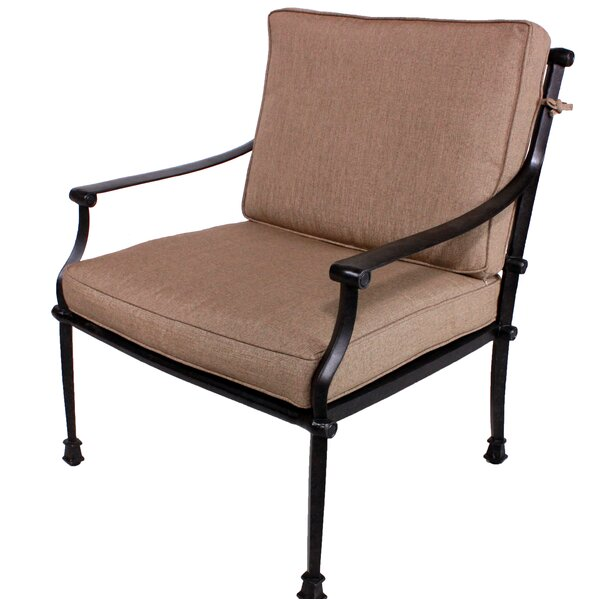 Elzada Deep Seating Patio Chair with Sunbrella Cushions by Fleur De Lis Living