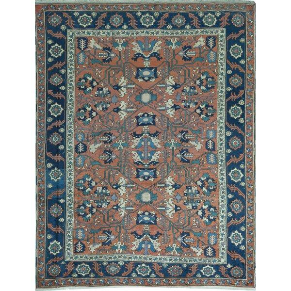 Oriental Hand-Knotted Wool Orange/Navy Blue Area Rug