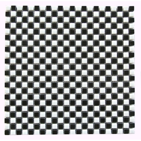 Full Body 0.5 x 0.5 Glass Mosaic Tile in Black/White by Abolos