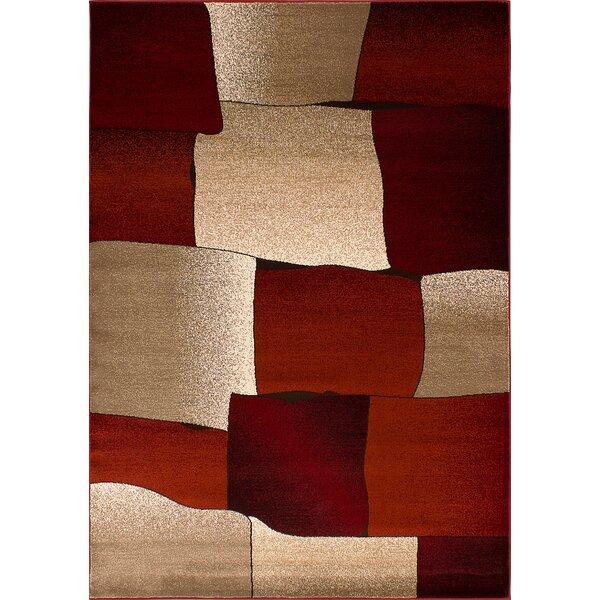 Cramlington Beige/Burgundy Area Rug by Ebern Designs