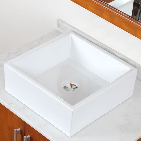 Above Counter Ceramic Square Vessel Bathroom Sink with Overflow