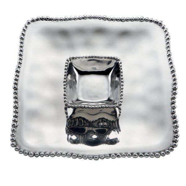 Organics Bead Metal Square Chip and Dip Platter by Lenox