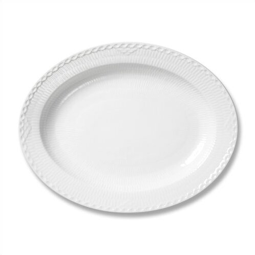 White Half Lace Oval Platter by Royal Copenhagen