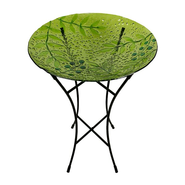 Glass Green Leaves and Berries Spring Outdoor Garden Birdbath by Northlight Seasonal