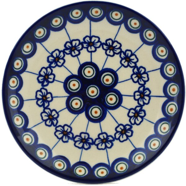 Flowering Peacock Polish Pottery Decorative Plate