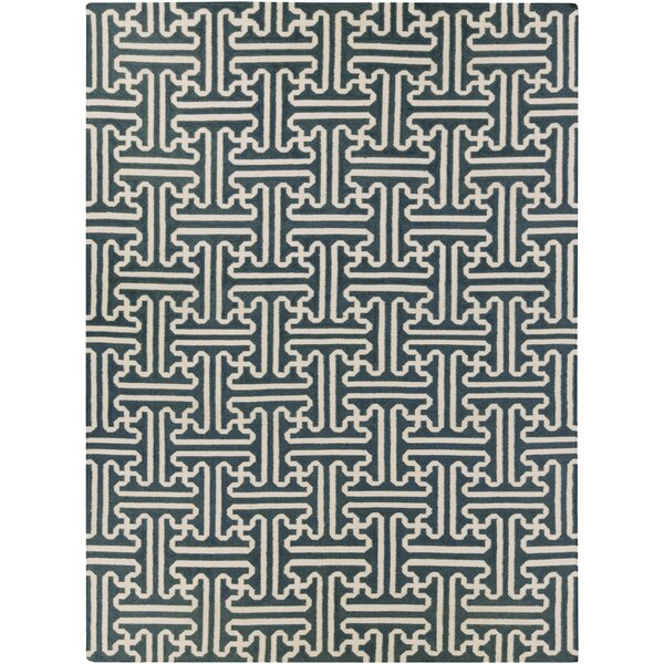 Archive Ivory/Teal Geometric Area Rug by Smithsonian