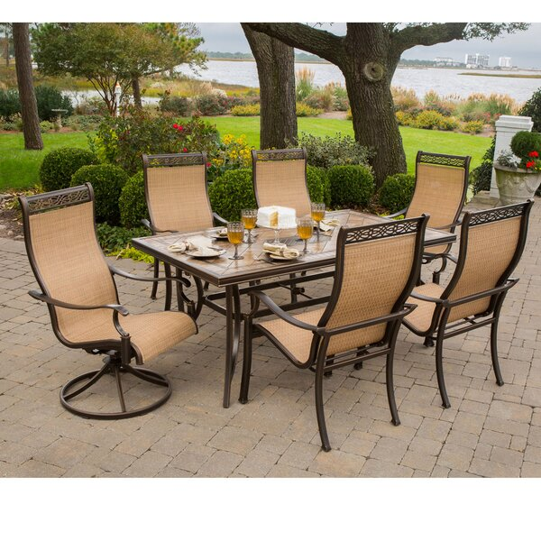 Lauritsen 7 Piece Oil Rubbed Bronze Dining Set by Three Posts