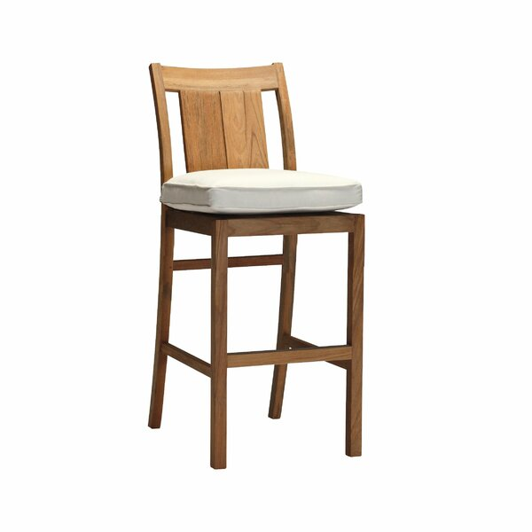 Croquet 26.5-inch Teak Patio Bar Stool with Cushion by Summer Classics Summer Classics