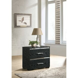 Canalou 2 - Drawer Nightstand in Black by Rosdorf Park