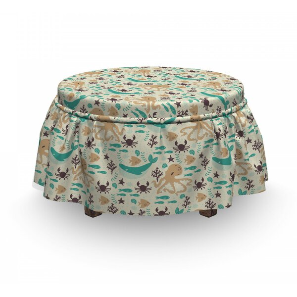 Cartoon Sea Creatures Ottoman Slipcover (Set Of 2) By East Urban Home