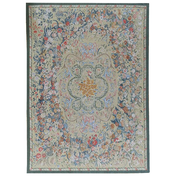 One-of-a-Kind Aubusson Hand-Woven Wool Money Green/Blue/Red Area Rug by Pasargad