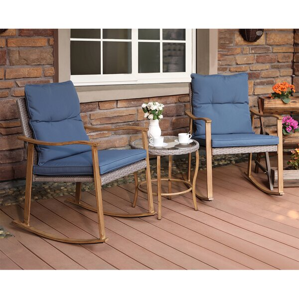 3-Piece Outdoor Patio Furniture Faux Woodgrain Rocking Chairs Warm Gray Cushions & Round Glass-Top Table Bistro Set By Highland Dunes